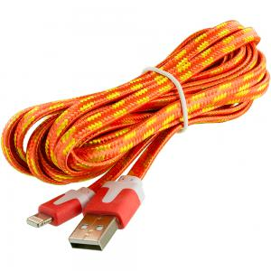 Orange Rope Braided Heavy Duty Lightning Data Sync Cable Charger (10FT) for Apple iPhone Xs