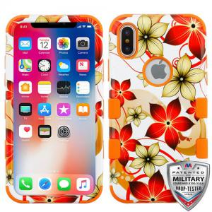 Apple iPhone Xs 5.8 - Hibiscus Flower Romance/Orange TUFF Hybrid Phone Case Cover [Military-Grade Certified]
