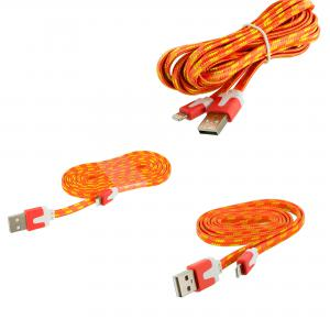 3 in 1 Combo Bundle Pack 3FT 6FT 10FT - Orange Rope Braided Heavy Duty Lightning Data Sync Cable Charger for Apple iPhone Xs