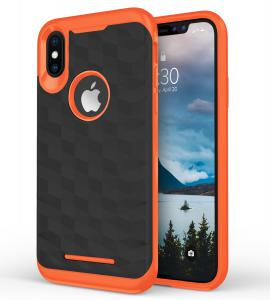 Apple iPhone Xs 5.8 - PRISM Series Dual Layered Case - Black & Orange
