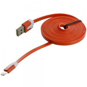 Orange Noodle Lightning Data Sync Cable Charger (6FT) for Apple iPhone Xs