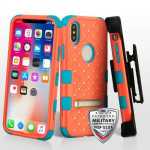 Apple iPhone Xs 5.8 - Natural Baby Red/Tropical Teal TUFF Hybrid Case Cover (with Magnetic Metal Stand)(with Diamonds)[Military-Grade Certified]