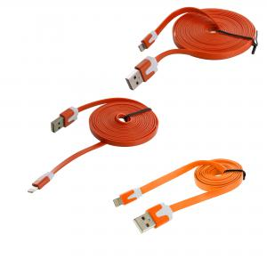 3 in 1 Combo Bundle Pack 3FT 6FT 10FT - Orange Noodle Lightning Data Sync Cable Charger for Apple iPhone Xs