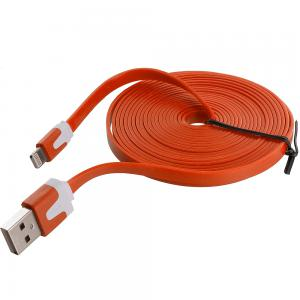 Orange Noodle Lightning Data Sync Cable Charger (10FT) for Apple iPhone Xs