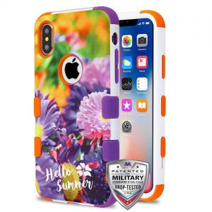 Apple iPhone Xs 5.8 - Chrysanthemum Field/Orange and Purple TUFF Hybrid Phone Case Cover [Military-Grade Certified]